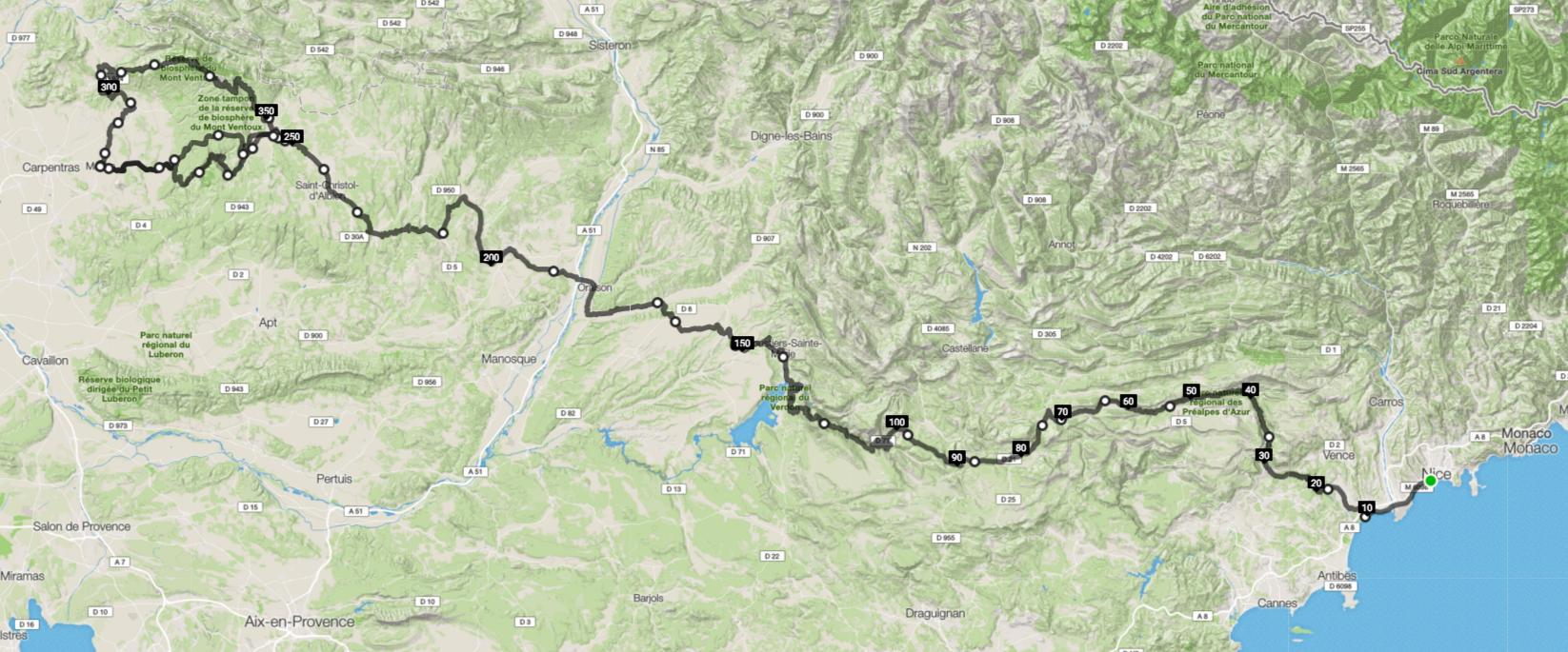 Parcours zoom - Challenge Nice Mont Ventoux 2016
